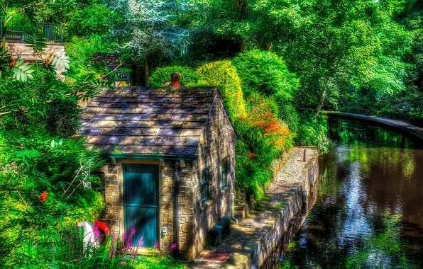 Picture greens, water, trees, England, treatment, house, the bushes, Uppermill