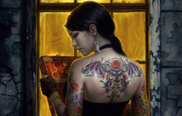 Picture decoration, earrings, brunette, tattoo, window, book, decosta