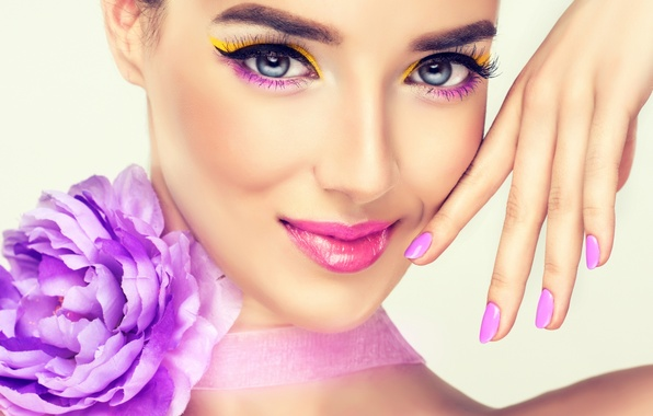 Picture flower, look, girl, smile, background, model, hand, makeup, lipstick