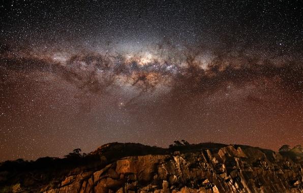 Picture stars, rocks, The milky way, galaxy, rocks, stars, Milky Way galaxy
