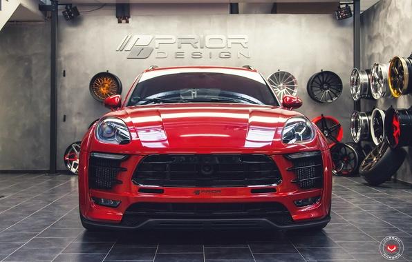 Picture car, red, tuning, prior design, Vossen, Porsche Macan