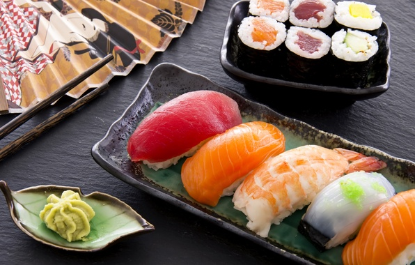 Picture food, fish, figure, sushi, rolls, shrimp, wasabi, salmon, tuna, fillet