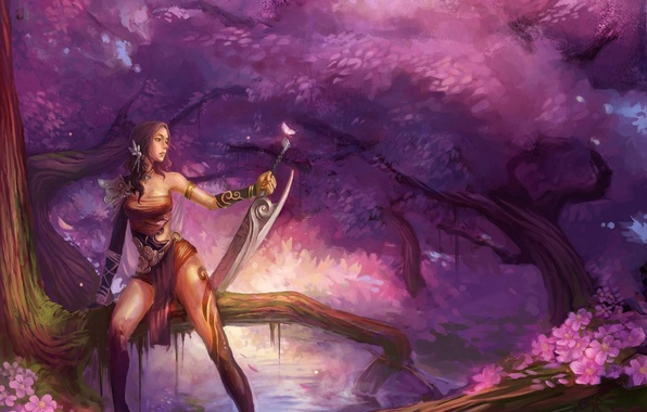 Picture water, girl, trees, fantasy, weapons, butterfly, sword