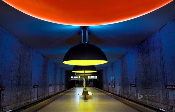 Picture metro, station, Munich, lamp, the tunnel, bench, West cemetery