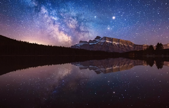 Picture the sky, water, stars, reflection, night, mountain, the milky way
