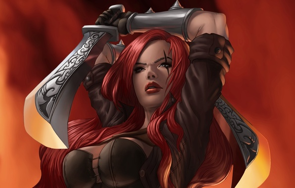 Picture girl, weapons, saber, league of legends, katarina