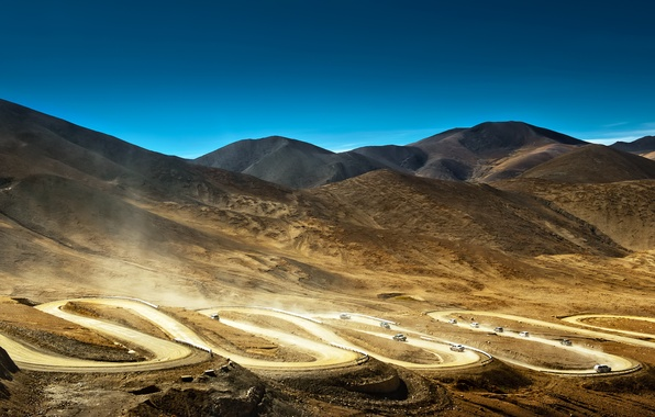 Picture road, mountains, machine, China, dust, china, Tibet, tibet