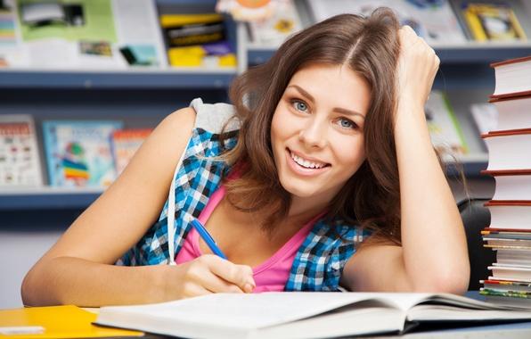 Picture smile, books, student, knowledge, college