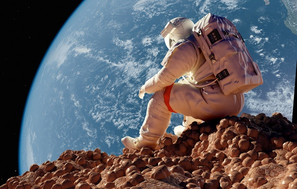 Photo wallpaper stones, the situation, astronaut, The moon, Earth, sitting, astronaut, astronaut
