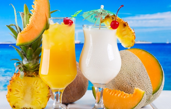 Picture sea, cherry, coconut, cocktail, fruit, pineapple, fresh, drink, cocktail, melon, fruits, tropical
