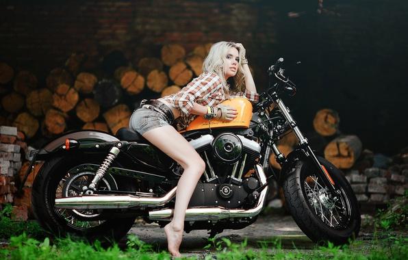 Picture girl, Harley, motorcycle, Harley Davidson, bike, photo, Maxim Gurtovoy