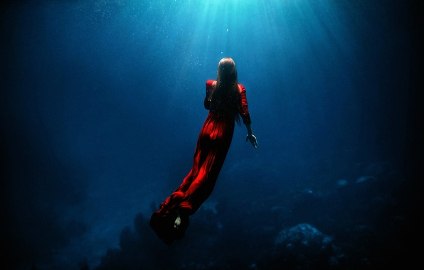 Picture girl, in red, under water, TJ Drysdale, Ascent