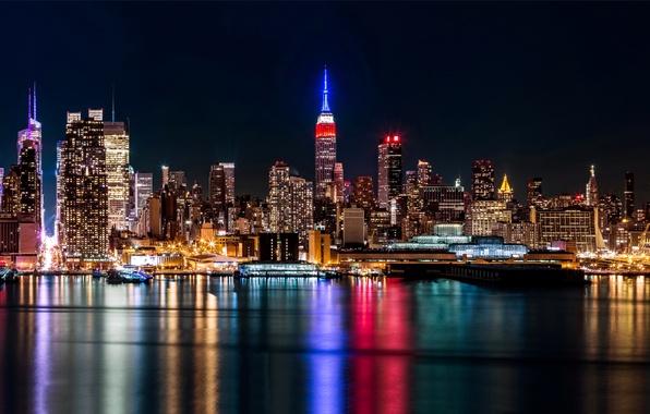 Picture city, lights, USA, Brooklyn, night, New York, Manhattan, skyscrapers