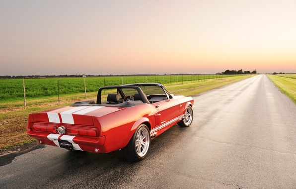 Picture road, field, the sky, red, strip, tuning, Mustang, Ford, Shelby, Convertible, Ford, Mustang, rear view, ...