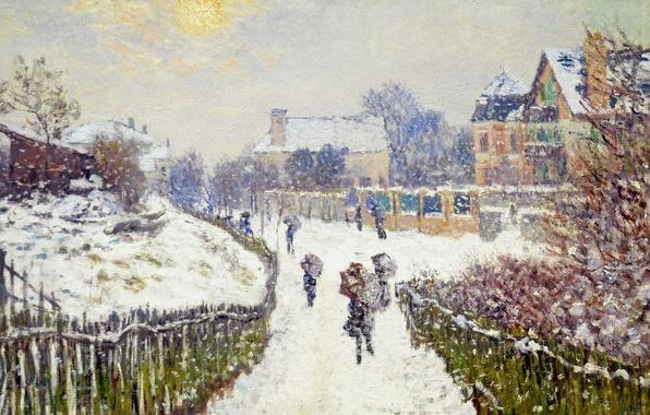 Picture snow, picture, the urban landscape, Claude Monet, Boulevard Saint-Denis. Argenteuil. Winter
