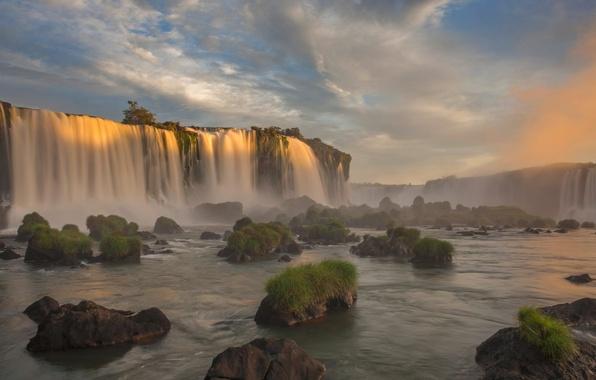 Picture river, waterfall, Brazil, Paraná, Iguazu national Park