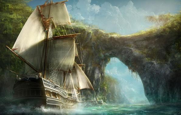 Picture greens, landscape, river, rocks, shore, ship, sailboat, art, arch, sails, Max Qin