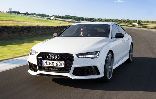 Photo wallpaper RS 7, speed, track, speed, Sportback performance, white, car, auto, Audi