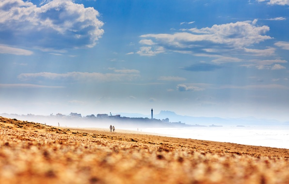 Picture sand, sea, beach, the sky, clouds, shore, France, lighthouse, haze, France