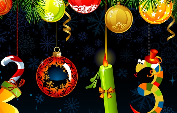 Picture decoration, snowflakes, holiday, balls, snake, candle, Christmas, New year, 2013