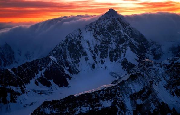 Picture clouds, snow, landscape, mountains, dawn, top