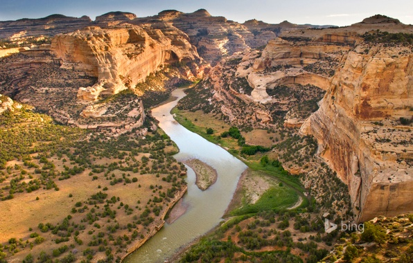 Picture the sky, mountains, river, rocks, Colorado, USA, Dinosaur National Monument, Yampa River
