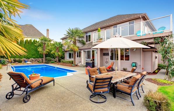 Picture design, house, stones, palm trees, table, chairs, interior, pool, garden, sunbed, mansion