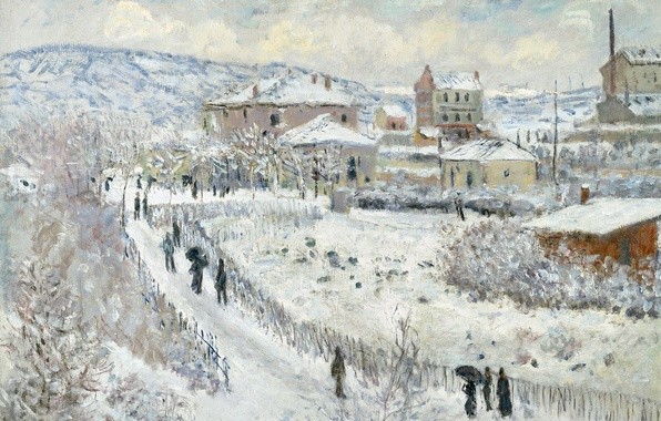 Picture winter, picture, the urban landscape, Claude Monet, View of Argenteuil in the Snow