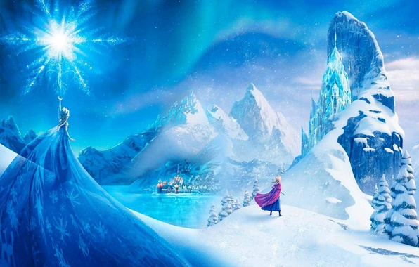 Picture snow, mountains, the city, star, ice, Frozen, Princess, Anna, Queen, Anna, Queen, snowflake, Walt Disney, …