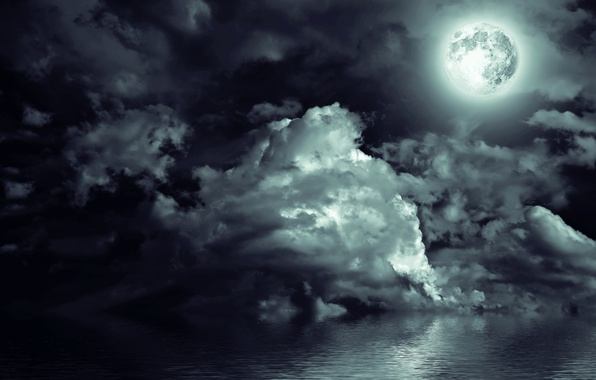 Picture sea, the sky, clouds, light, landscape, night, the moon