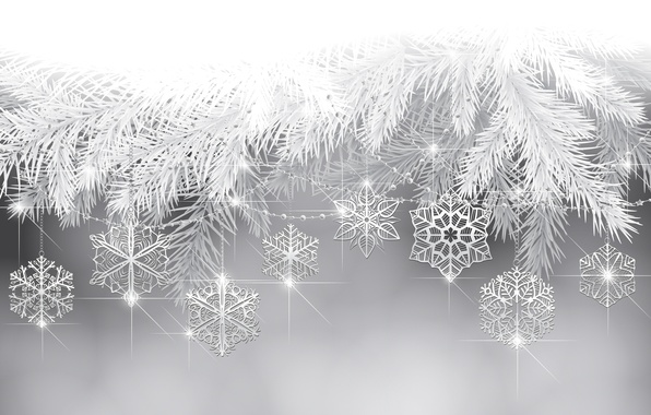 Picture snowflakes, holiday, tree, new year, twigs