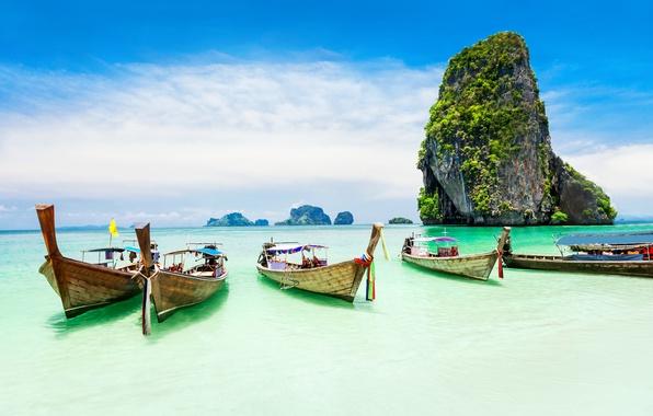 Picture sea, trees, rocks, coast, boats, Tropical Paradise