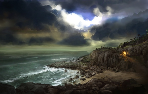 Picture sea, clouds, stones, rocks, fire, Bay, the fire, art, track, cave, trail