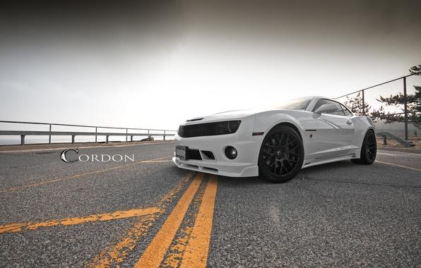 Picture road, white, markup, white, wheels, Chevrolet, camaro, chevrolet, Camaro