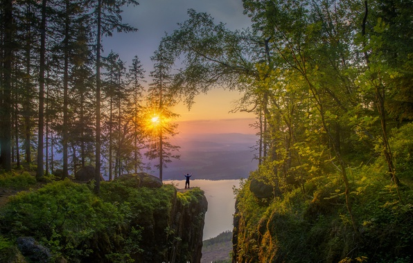 Photo wallpaper forest, the sun, trees, sunset, mountains, lake, stones, rocks, dawn, people, height, Norway, Jorn Allan ...
