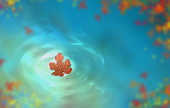 Picture autumn, water, drops, figure, leaf, art