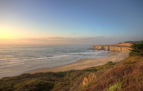 Picture sand, sea, the sky, grass, landscape, sunset, nature, shore