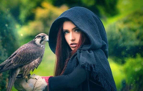 Picture girl, bird, predator, The Hunter, Aline, Joachim Bergauer