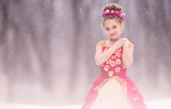 Picture snow, roses, dress, girl, fine art, children photography