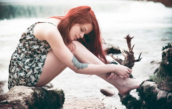 Picture tattoo, redhead, Lorène