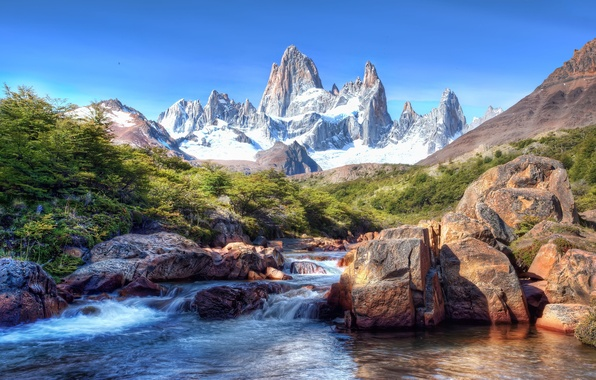 Picture the sky, snow, mountains, stones, South America, Patagonia, Patagonia, mountain river