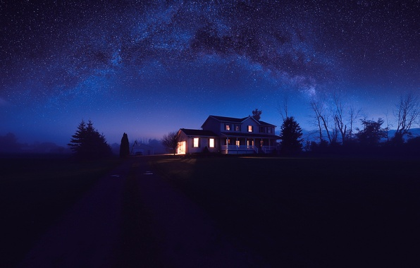 Picture road, the sky, stars, light, trees, nature, house, darkness, Night