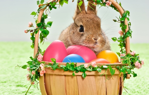 Picture holiday, basket, eggs, rabbit, Easter