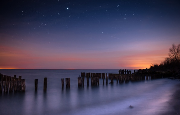 Picture sea, the sky, stars, night, surface, constellation