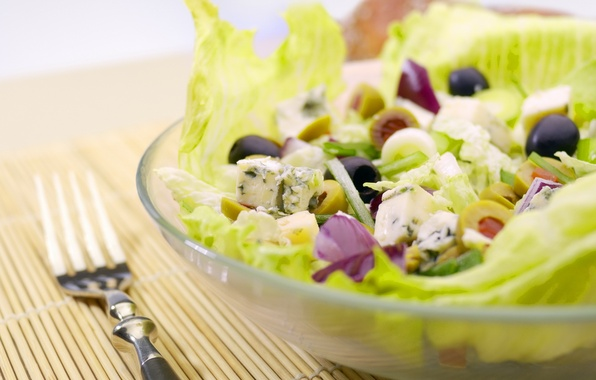 Picture greens, food, plate, plug, vegetables, olives, salad, useful