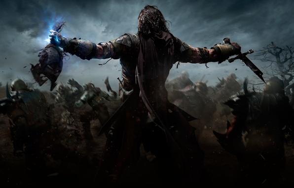 Picture tree, magic, blood, sword, head, battle, warrior, Ghost, armor, orcs, Ranger, Warner Bros. Interactive Entertainment, …