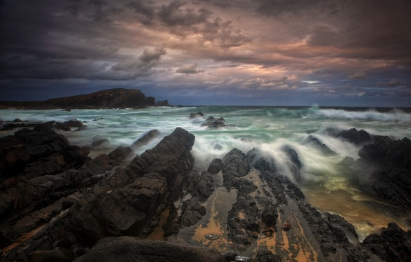 Picture sea, the sky, clouds, clouds, storm, the ocean, rocks, Australia, New South Wales, Crescent Head