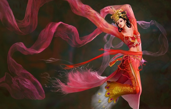 Picture girl, fantasy, the wind, dance, Diao ChanII