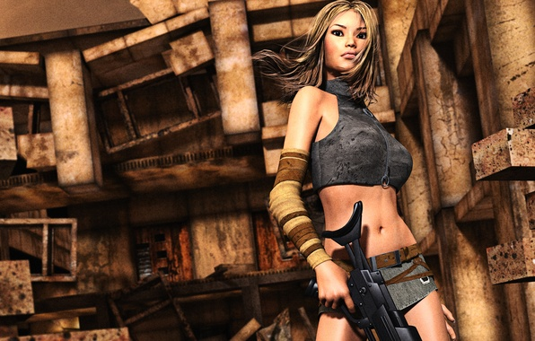Picture look, girl, face, pose, rendering, weapons, background, hair, the building, destruction