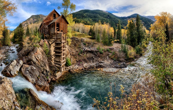 Picture autumn, forest, trees, mountains, stream, stones, for, waterfall, mill, USA, water, Colorado, Crystal Mill, Crystal …